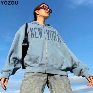 YOZOU Femmes Automne Hiver Lettres bleues Broderie coton Terry capuche zippé surdimensionné sweat à capuche Manteau Y2k esthétique Femme
