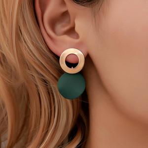 Pendientes geométrica OL mujer sencilla tridimensional estereoscópica Personalidad circular colgante irregular femenino del oído del regalo del ornamento del partido