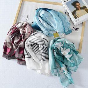 Шарфы 100% шелковый шарф женские натрубные ткани высококачественные чистые шелковые печать шарфс подарок для леди ограниченные количества