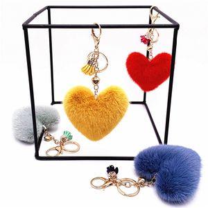 New Tassel Peach Heart Keychain Cute Pendant Heart-shaped Plush Car Key Chain Ring Pendant Small Gift