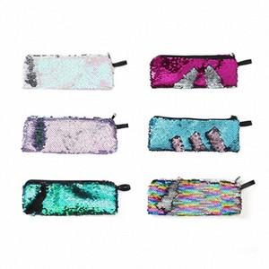 가역 인어 장식 조각 연필 케이스 다채로운 반짝이 연필 가방 여자 선물 필통 문구 펜 상자 학교 r8RV 번호 공급