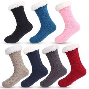 3D Stripes Winter Long Bulk Slipper Socks Women AntiSlipper Warm Fleece Ankle Lined Non-Slip Chunky Christmas Cashmere Socks