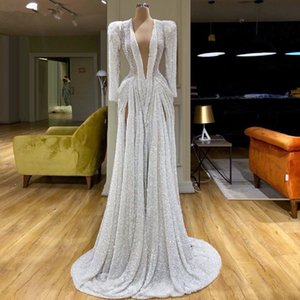 Elegant A Line Sequined Prom Dresses Side Slits Custom Made Deep V Neck Long Sleeve Sexy Evening Gowns Women Formal Wear