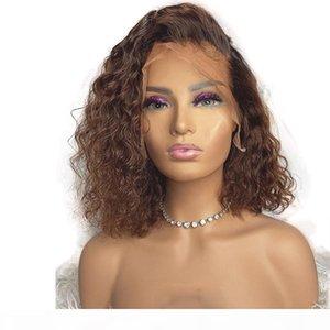 Volle Spitze Dunkelbraun Wurzel Curly Menschenhaar 360 Lace Frontal Perücken Pre Zupforchester Natürlicher Haarstrich Bob Curly Ombre 13x6 Lace Front Perücken