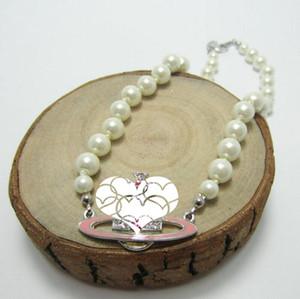 Nuevas damas con encanto completa pendiente de diamantes accesorios de vestir perla satélite clavícula collar de cadena de la cadena del cuello del regalo del amor de entrega rápida