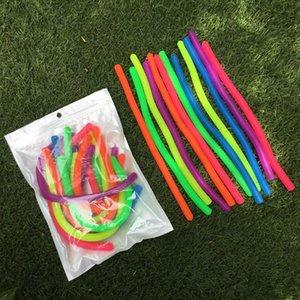 6pcs TPR souple Noodle élastique Jouets corde pour les enfants Décompression Artefact Vent Rope Neon jouets anti-stress couleurs aléatoires