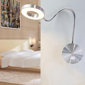 Applique da parete 5W Tubi Lampada da parete flessibile Iniziale Hotel Comodino lampada di lettura ha condotto la moda moderna Prenota Luci a Led in alluminio Bulbi-L