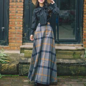 İki Parça Setleri Sonbahar Ve Kış Bayan Retro Mizaç Elbise Uzun Kollu Gömlek Yün Ekose Yarım Uzunluk Elbise Iki Parça