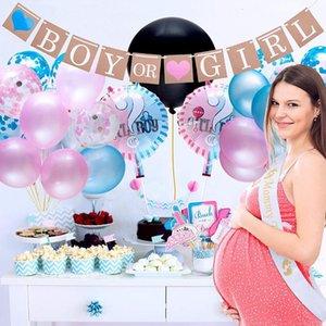 El género revela las fuentes del partido del bebé Decoración niño o una niña que tira de la bandera del confeti de los globos Photo Props