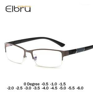 Elbru Men Half Cadre Cadre ultra-léger Lunettes de vue anti-bleue Femme de lumière Myopia Diopter 0 -1 1.5 2 2.5 3 3.5 4 4.5 5 5.5 61