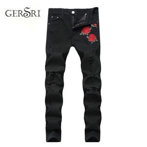 Gersri Slim Fit Color Black Flower Impreso Homme Balplein Marca Hombres Motor Biker Jeans