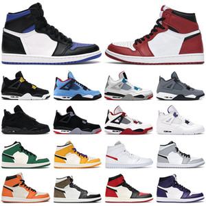 Air Jordan 1 retro 4 Basketbol Ayakkabıları Erkek kadın jumpman 1s yüksek OG Obsidian Siyah beyaz Orta Işık Duman Gri 4s Siyah Kedi erkek spor ayakkabı