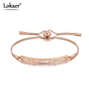Lokaer Original Design Sparkling CZ Crystal Elbow Bracelets For Women Girls Rose Gold Stainless Steel Box Chain Bracelet B19099