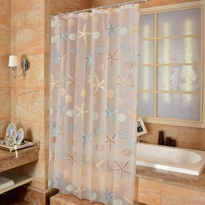 Starfish Pattern PEVA Shower Curtain Seaside Style Bathroom Bath Curtain With Hooks Waterproof Mildew Bathroom Accessories