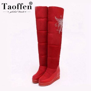 TAOFFEN New Russia Warm Snow Boots Women Platform Waterproof Plush Fur Heels High Over The Knee Boots Winter Boots Size 33-43 201021
