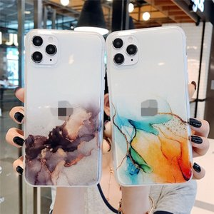 Gradient Glossy Retro Phone Casefor IPhone 12 11 Pro X XR Max Mini 8 7 Plus XS Max Clear Shockproof Cover Coque Funda