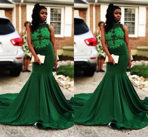 2021 Dark Green Prom Dresses Sleeveless Lace Applique Sweep Train Sequins Beaded Custom Made African Evening Party Gowns robe vestido
