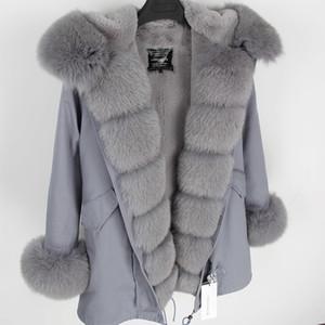maomaokong серого Natural Real Fox Fur Jacket пальто женщины реальный Шуба Long ветровка Winter Black Parka 200928