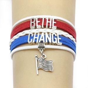 Unendlich Liebe Bethe ändern Trump Flagge Charms-Armband-Armbänder Leder Braid-Verpackungs-Armband Männer Frauen Fashion Jewelry