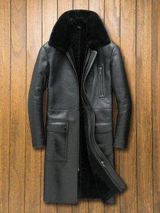 남성 가죽 가짜 겨울 진짜 자켓 남성 긴 양피 코트 빈티지 정품 자켓 Shearling 모피 코트 2021 SWY-976