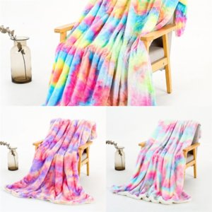 6EN Soft Blanket Home Wool Scarf Throw faux high quality fur blanket Rainbow colors queen Portable Warm Plaid Sofa Bed Fleece Spring