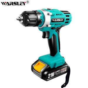 Rechargeable electric Screwdriver Drill 21V lithium battery cordless Drill Screwdriver Two Speeds torque hand-held Power Tools Y200321