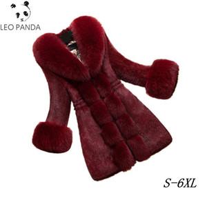 2020 New Autumn Winter Women Faux Fur Coat Jacket Slim Fur Collar Women Warm High-end imitation Parka Female Plus Size Coats