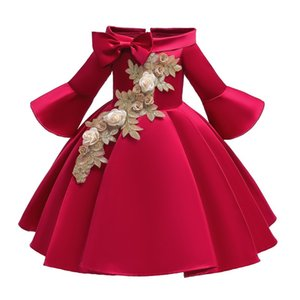 Long Sleeve Christmas Embroidered Princess Winter Warm Little Girls Fancy Wedding Princess Party Birthday Cosplay Dress Long Kids Frock