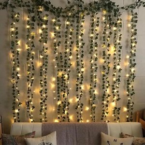 Lampeggiante Led Ivy Vine String Lights o Battery LED Led Leaf Ghirland Christmas per Home Wedding Decorative Lights LJ201018