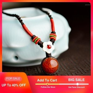 Ethnic Choker Necklace For Women short rope chain Red Dragon stone ball pendant fashion ethnic femme jewelry 2020 new arrival1