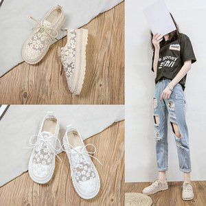 2020 Summer New Forest Art Casual White Shoes Lace Embroidery Lace Flat Female Shoes Tide 2 Colors Flats For Women Ladies