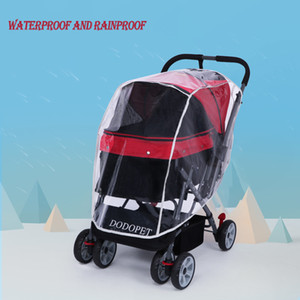 Outdoor Pet Stroller Cover for Car Dog Foldable Safe Transparent Wind Rain Proof Cover PVC Rain Cover for Pet Baby Cart Jogger LJ201130