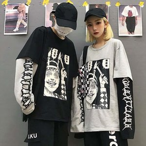 Harajuku Sweatshirt Women Patchwork Unisex Pullovers Print Japanese Comics Jumpers Fake 2 Pieces Shirt Woman Streetwear