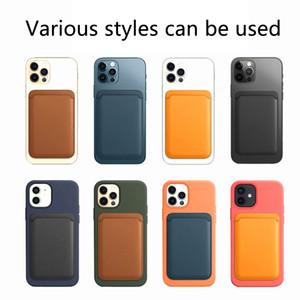 Universaltel Zurück Slot Wallet-Karte für iPhone 12 Pro Max 12 Mini-Fall Luxusleder magnetische Beutel-Kartenhalter Tasche