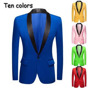 New yellow Pink Blue Red Apple green Colorful Wedding Prom Groom Tuxedo Men's Suit Jacket Stage Singer Prom Slim Fit Blazers 201104
