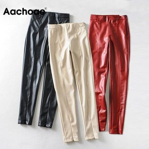 Aachoae femmes Skinny Faux cuir sexy élastique Leggings stretch PU Pantalon en cuir taille haute pantalon jeggings 201016 Pantalons
