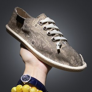Mens Shoes Casual Lace Up Espadrilles Men Summer Canvas Hemp Rope Shoes Men Moccasins Men Loafers Boat Shoe Dropshipping AODLEE 201009