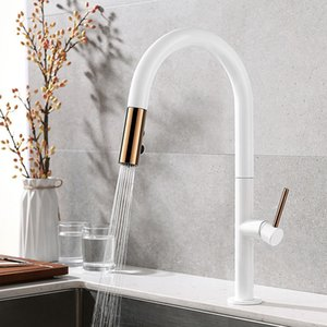 Pull-Down Kitchen Sink Faucet with Spray Head Copper White Mixer Tap Pull-out Kitchen Faucet KJZY80BAI