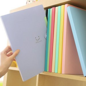 New 4 Color A4 Kawaii Carpetas Filing Supplies Smile Waterproof File Folder 5 Layers Document Bag Office Stationery DHD2076