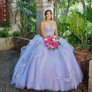 Lavender Lace Quinceanera Dresses Ball Gown Tulle Cheap Evening Party Sweet 16 Dress Custom Made Prom Dresses L168