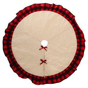 Patchwork Check Burlap Ruffle Faldas de árbol de Navidad Wholesale Blancos Red Buffalo Christmas Mat Ornamento Decoración Regalo Ewa1911