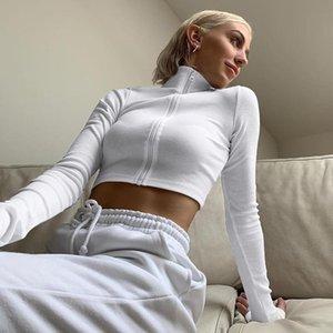 Ladies Sólidos colheita cor Zipper Top T-shirt Outono Primavera Mulheres gola alta manga comprida Casual Base de camisa para Dating férias Nova