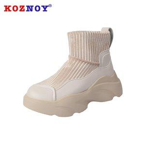 Koznoy Kar Boots Kadınlar Kış Kalın Alt dropshipping Moda Peluş Sıcak Süet Yuvarlak Burun Boş Yüksek Topuklar Kadınlar Sneakers