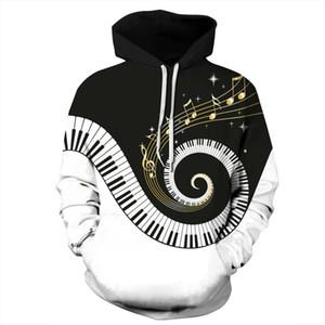Men's 3D monochrome printed piano keyboard music creative hat crew neck crew neck men's long sleeve sweater zipper