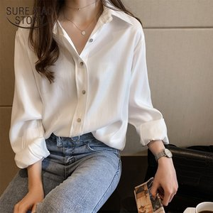 Women Shirts White Blouses Long Sleeve Turn-Down Collar Solid Ladies Tops OL Style Chiffon Blouse Chemise Femme 7311 50 201028