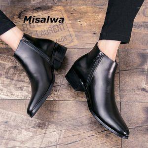 Misalwa Italiano Genuíno de Couro Homens Botas de Negócios Inverno / Primavera Zipper / Lace-up Britânica Alta Boot Botas de Vackhide Pointy Boots1
