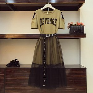 2 Colors 2020 Summer Womens Cotton Long Strapless T shirt and See Through yarn Skirt 2 Piece Sets Free Holes Belt Skirts