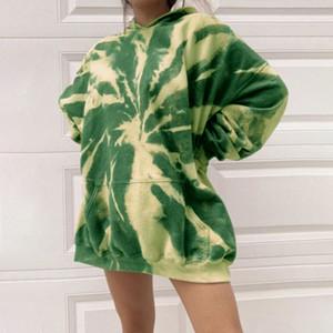 Frauen Abbindebatik Hoodies Frühling Herbst Pullover mit Kapuze langärmliges Sweatshirt Damen große Tasche Kleidung