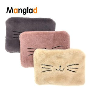 Cute Plush Cosmetic Bag Women's Fluffy Cat Embroidered Handbag Large-Capacity Storage Pouch Make up Organizer Clutch Evening Bag
