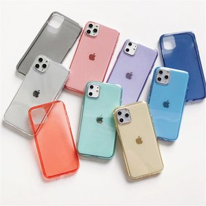 100Pcs Clear TPU Phone Case For iPhone 12 Mini 11 Pro Max XS Max XR X 7 8 Plus SE2020 6S Soft Transparent Candy Color Back Cover